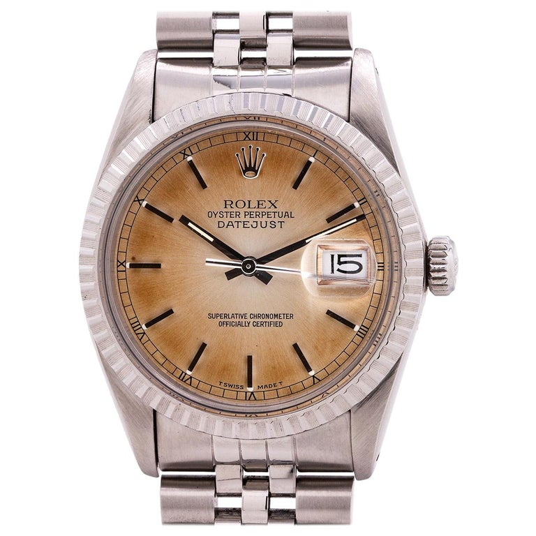 Rolex Stainless Datejust Tropical Dial self winding wristwatch Ref 16030, c 1981