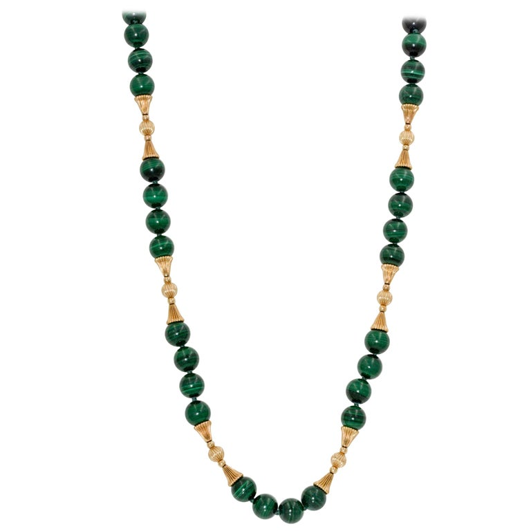 14 Karat Yellow Gold Malachite Bead Necklace
