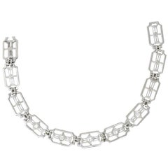 .40 Carat Art Deco 14 Karat White Gold Diamond Link Bracelet