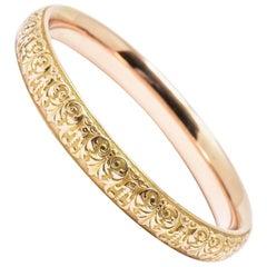 Floral Krementz Art Nouveau 14 Karat Yellow Gold Slip on Bangle Bracelet