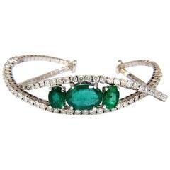 11.75 Carat Natural Bright Emeralds Diamonds Crossover Bangle Bracelet 14 Karat