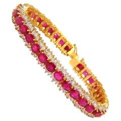 18.16 Carat Natural Bright Vivid Red Ruby Diamonds Three-Row Tennis Bracelet