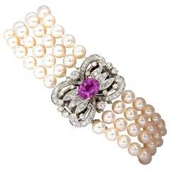 GIA 3.07CT No Heat Pink Sapphire 1.50ct Diamond Akoya Pearl Bracelet 14K