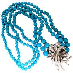 3.50 Carat Natural Diamonds Turquoise Beads Double Stranded Necklace 14 Karat