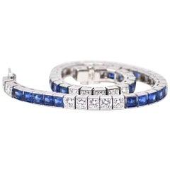 10.75 Carat Platinum Sapphire Diamond Line Bracelet