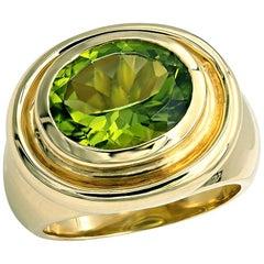 Peridot Ring 4.75 Carat Cushion Cut Peridot Chunky Cocktail Ring in 18kt Gold