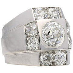 René Boivin Art Deco Geometric Platinum and Diamond Chevalière Ring
