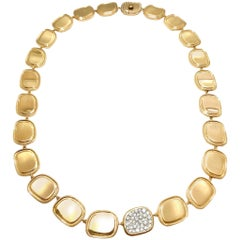 Roberto Coin Black Jade Collection Diamond and 18 Karat Rose Gold Necklace