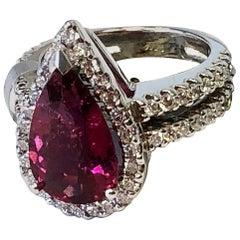 Estate Pink Tourmaline Pear and Diamond Cocktail Ring in 14 Karat White Gold
