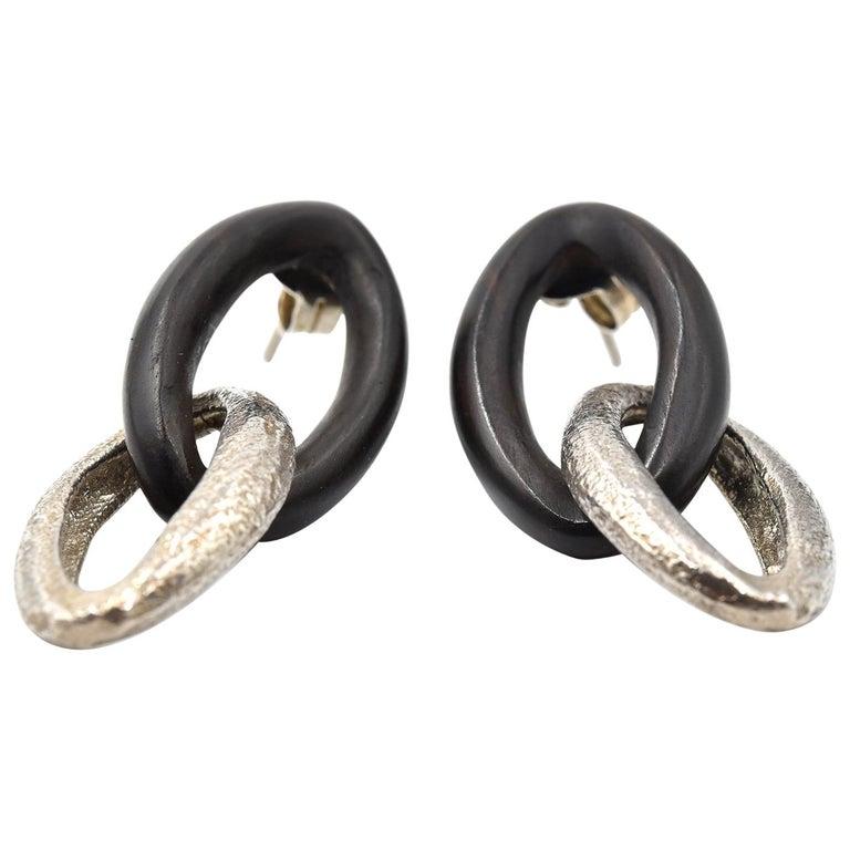 Sterling Silver and Ebony Oval Drop Earrings