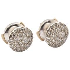 18 Karat White Gold Tiffany & Co. 0.66 Carat Diamond Micro-Pave Disk Earrings