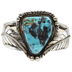 Sterling Silver Engraved Cuff Bracelet with Turquoise Center Stone