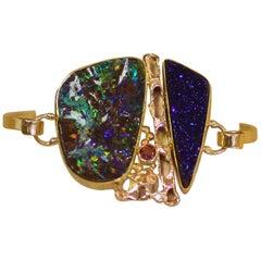 Jennifer Kalled Opal Cuff Bracelet 22 Karat 18 Karat 14 Karat