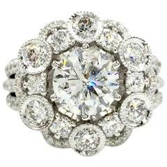 18 Karat White Gold Diamond Halo Style Ring 3.67 Carat Total Weight