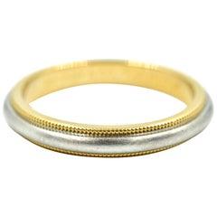 Tiffany & Co. 18 Karat Yellow Gold and Platinum Gents Wedding Band