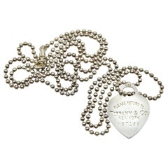 Tiffany & Co Return to Tiffany Heart Pendant on Bead Sterling Silver Necklace