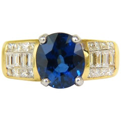 GIA 4.93 Carat Natural Top Gem Sapphire Diamond Ring Classic Set