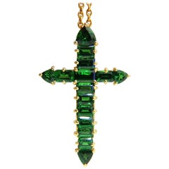 12.00 Carat Natural Vivid Green Tsavorite Cross 18 Karat and Chain