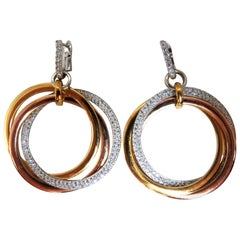 3.80 Carat Natural Diamonds Rolling Loop Rings Dangle Earrings 14 Karat