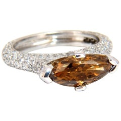 GIA Certified 2.46 Carat Fancy Dark Yellow Brown Diamond Ring Platinum