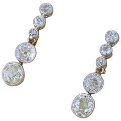 Art Deco 4.24 Carat Old Cut Diamond Drop Earrings