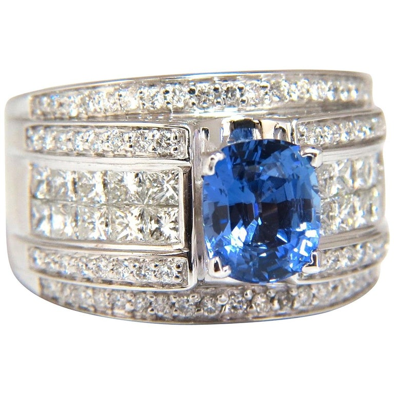 GIA Certified 3.75 Carat Natural Blue Sapphire Diamonds Ring Multi Row