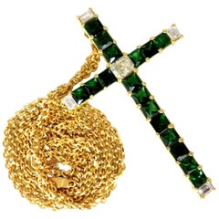9.54 Carat Natural Diamonds and Vivid Green Tsavorite Cross 18 Karat and Chain