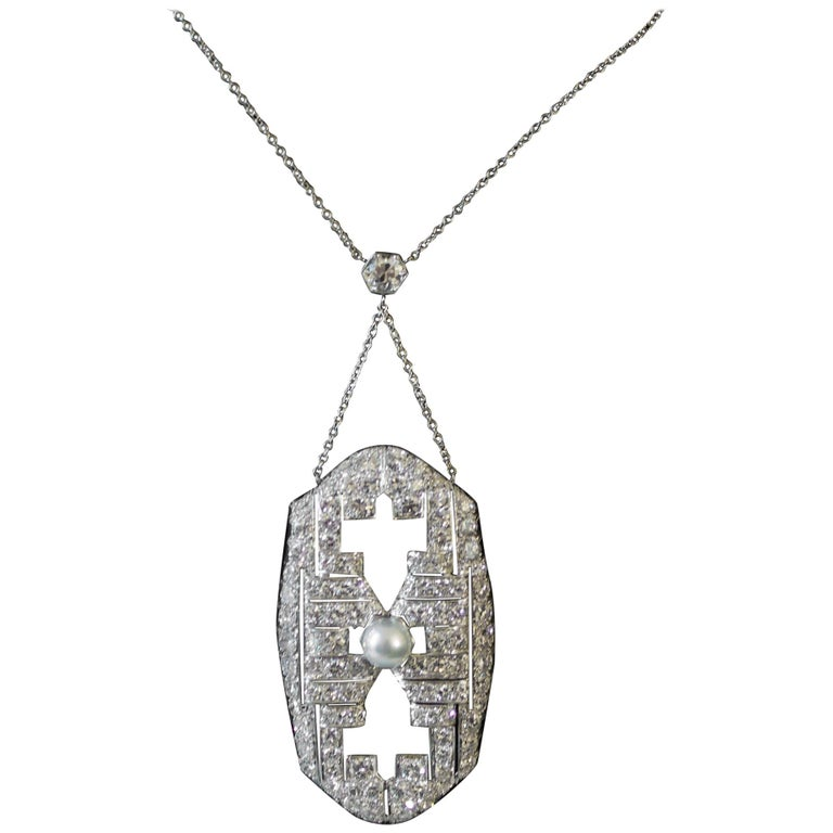 Art Deco Diamond and Pearl Platinum Necklace, circa 1920s