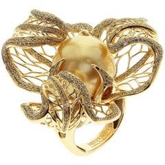 Golden South Sea Pearl Brown Diamond 18 Karat Yellow Winter Cherry Ring
