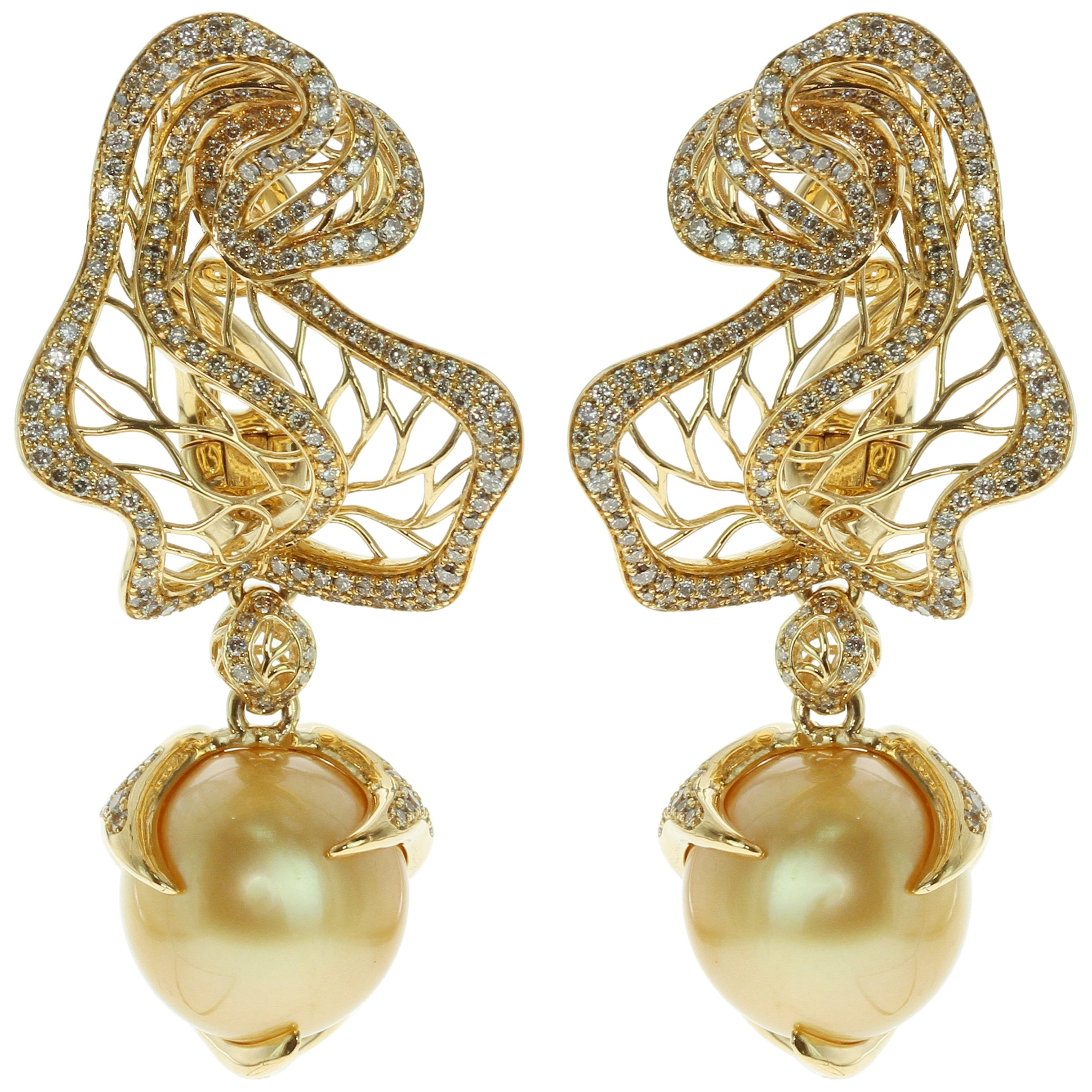 Golden South Sea Pearl Brown Diamond 18 Karat Yellow Gold Winter Cherry Earrings