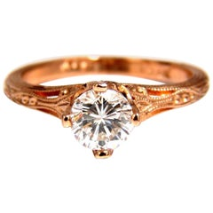 GIA Certified .95ct F.Si1 natural round diamond ring Portuguese Revival 14kt