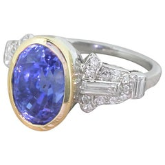 Art Deco 7.29 Carat Natural Ceylon Sapphire and Diamond Ring