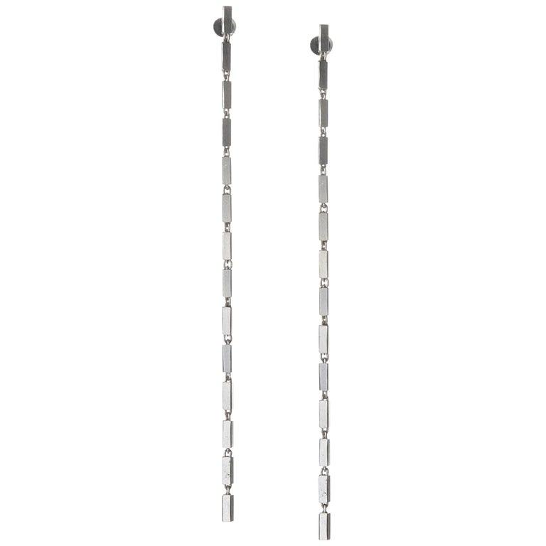 Sterling Silver Simple Greek Lightweight Chain Box Rectangular Earrings