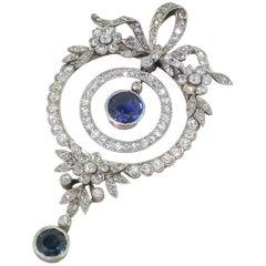 Edwardian Sapphire and Diamond Pendant