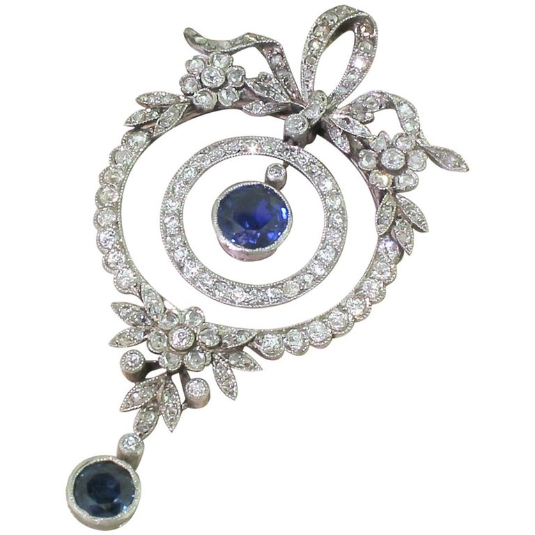 Edwardian Sapphire and Diamond Pendant