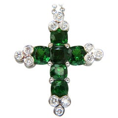 7.42 Carat Natural Vivid Green Tsavorite Diamonds Cross Pendant 14 Karat