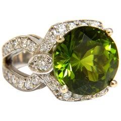 GIA Certified 12.15 Carat Natural Green Peridot Diamond Ring 14 Karat