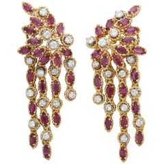 1980s Elegant Marquis Cut Rubies with Diamonds Hanging Tassel Gold Earrings