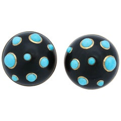 Trianon 1980s Ebony with Turquoise Necklace with Earclips Matching Ensemble