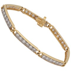 1980s Chic and High Quality French Gold with Diamonds Straightline Link Bracelet
