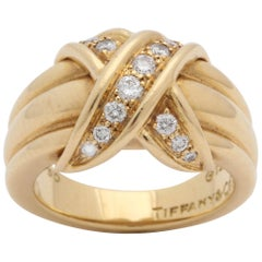 "Tiffany & Co. Letter ""X"" Design Diamond with Ridged Gold Chic Ring"