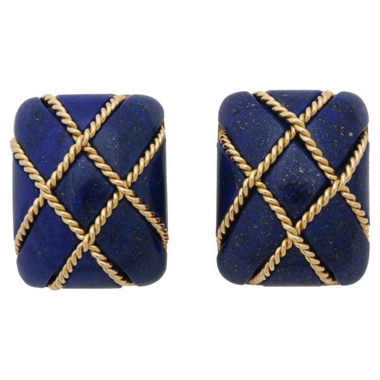 Seaman Schepps 1990s Large Sugar Loaf Cut Lapis Lazuli and Gold Earrings
