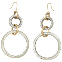 1980s Mother-of-Pearl and Gold Hoop Dangle Earrings with Shepard Hooks Closures