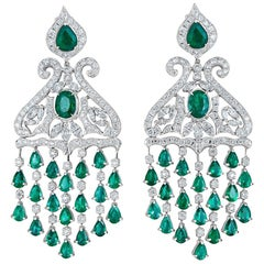 White Gold, Diamonds and Emerald Chandelier Earrings