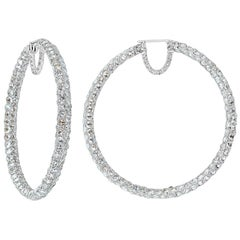 Pave Rose Cut Diamond Hoop Earrings