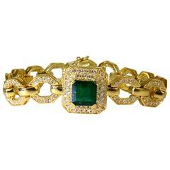 6.25 Carat Natural Emerald Diamond Bracelet 18 Karat Greek Linked Deco