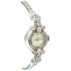 Ladies Vintage 14 Karat White Gold 1.00 Carat Diamond Hamilton Fashion Watch