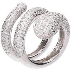 Diamond Cocktail Snake Ring White Gold