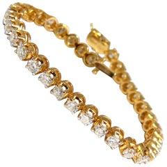 5.40ct natural diamond tennis bracelet / Victorian High Profile Petite 14kt