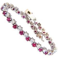 5.96 Carat Natural Ruby Diamonds Alternating Tennis Bracelet 14 Karat